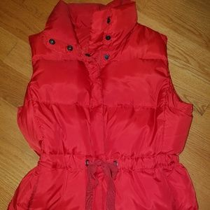 Lands End Canvas red puffer vest xs